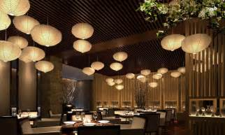 wood wall and ceiling with bamboo ls in restaurant design ideas