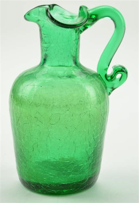 vintage green crackle glass pitcher 4 5 quot