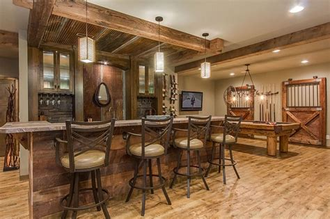 basement tavern this basement combines rustic and luxury materials to