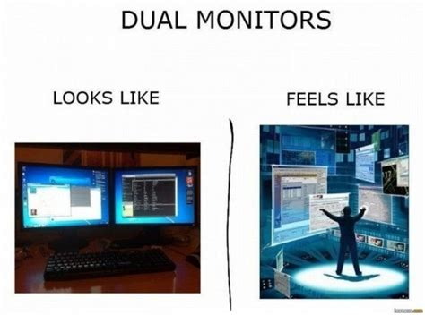 Meme Monitor - dual screen looks like vs feels like meme guy