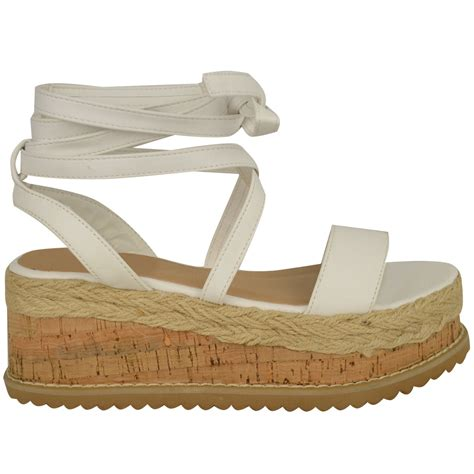 Sendal Wedges Pnc 1 womens flat wedge espadrille lace tie up sandals platform summer shoes ebay