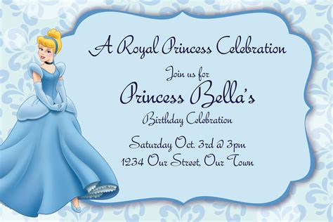 cinderella birthday card template free printable cinderella birthday invitations bagvania