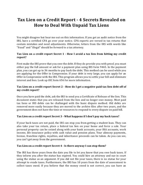 Letter To Credit Bureau To Remove Tax Lien Tax Lien On A Credit Report 4 Secrets Revealed On How To Deal With