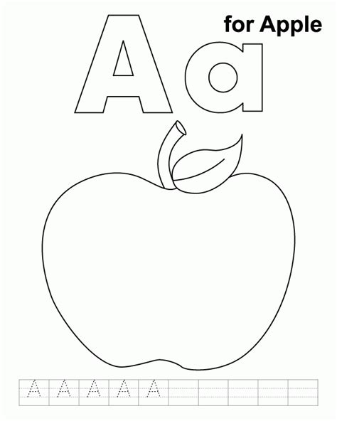 apple coloring pages pdf for apple coloring page with handwriting practice