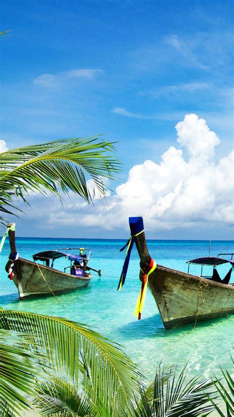 wallpaper tropical beach boats island coconut trees