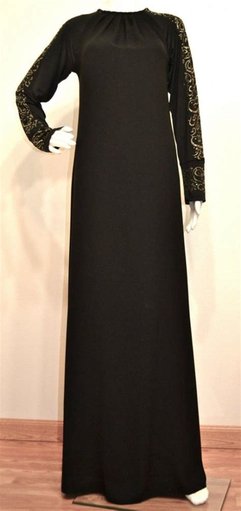 Omera Plain Flare Muslim Dress hayaa clothing khadijah gold arabic calligraphy sleeves black umbrella abaya 52 00 http