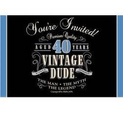 vintage dude 40th birthday invitations