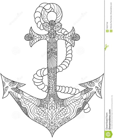 coloring book free vector anchor coloring vector for adults stock vector