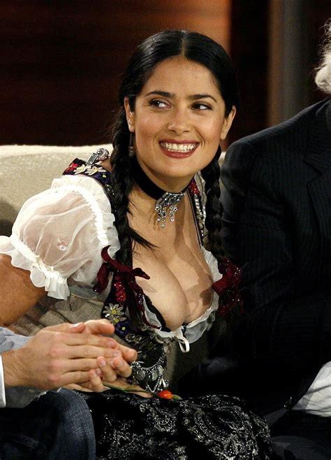 Salma Hayek Wardrobe Malfunction by Salma Hayek Nip Slip Cleavage