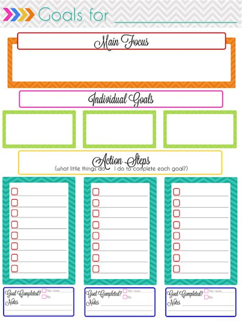 Monthly Goals Template