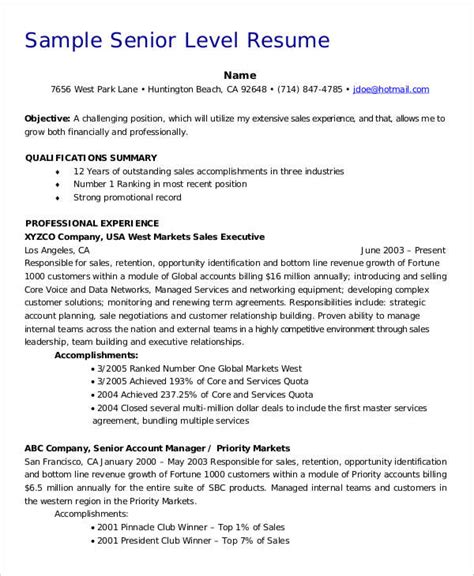 entry level management resume sles senior level resume sles 28 images senior level resume
