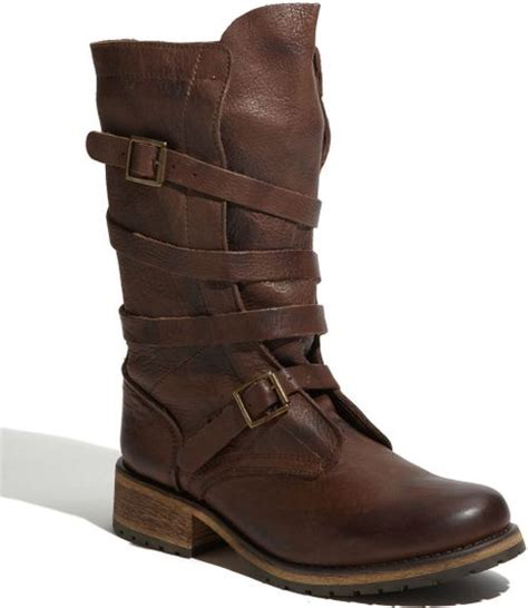 steve madden banddit buckle boot in brown brown leather