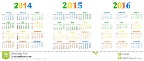 Calendar From 2014 To 2016 2014 2016 Calendar Royalty Free Stock Photos Image 33959428