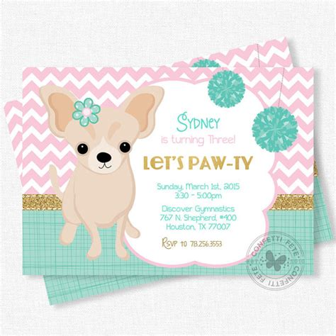 puppy birthday invitations puppy invitation birthday invitation chihuahua invitation pink teal and