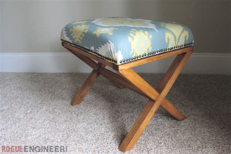 diy upholstered bench diy upholstered x bench free plans rogue engineer