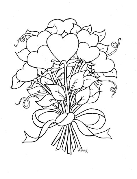 coloring pages flowers hearts coloring pages for kids by mr adron flower hearts kid s