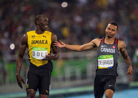 Hinomiya Beta Line Senar 100m day 9 bolt makes history and de grasse wins olympic medal the globe and mail