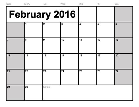 Kalender 2016 Blanko February 2016 Calendar Printable Template 8 Templates