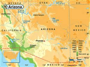 geographical map of arizona arizona physical map by maps from maps world s