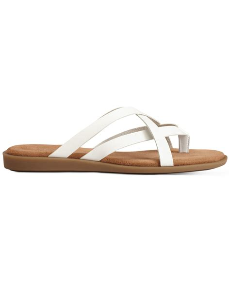 white sandals flat aerosoles asteroid flat sandals in white lyst