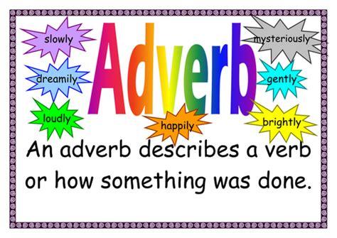 printable adverb poster vocabulary display word types by primaryteacheruk