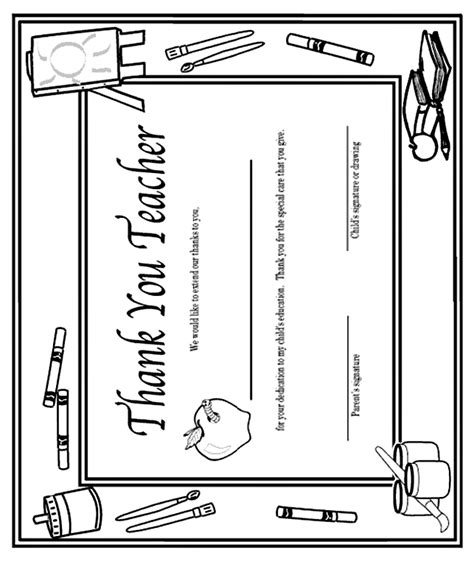 printable coloring pages for your teacher thank you teacher certificate coloring page crayola com