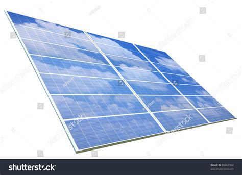 blue sky and white cloud reflection on solar panel stock