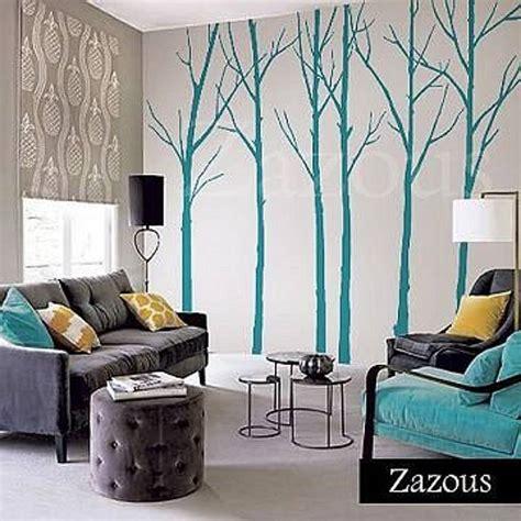 zazous wall stickers wall stickers winter trees turquoise by zazous notonthehighstreet