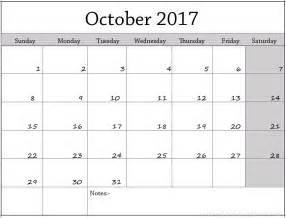Calendar For October 2017 October 2017 Calendar Template Calendar Template Letter