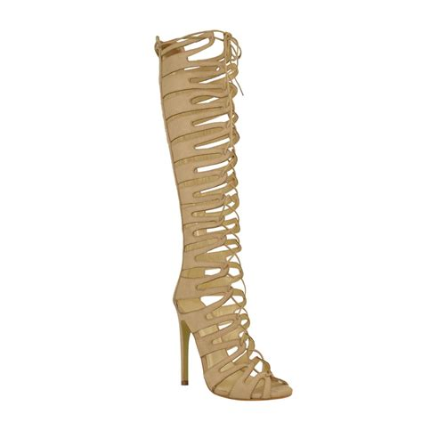 knee high gladiator heel sandals cut out high heel strappy lace up knee high
