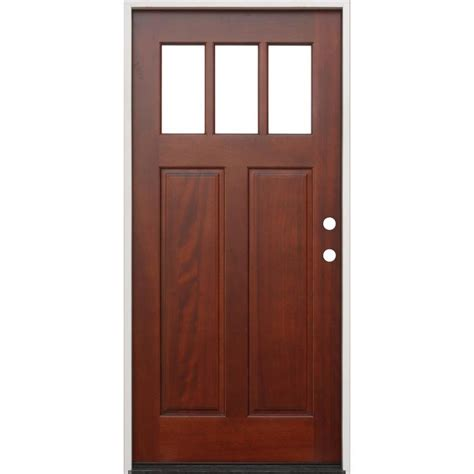 creative entryways craftsman clear glass left hand inswing mahogany stained wood prehung entry