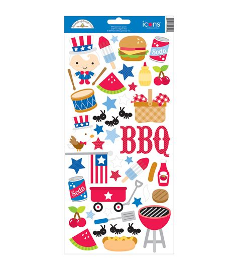 doodlebug stickers doodlebug patriotic picnic icons cardstock stickers 6 x13