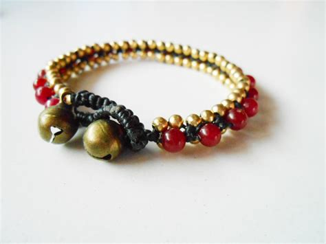 Handmade Cord Bracelets - beaded stones bracelet woven with brass beaded wax cord