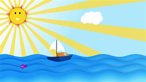 cartoon boat sailing slowly in the ocean over blue sky in