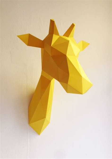 Folded Paper Animals - paper giraffe folding kit assembli