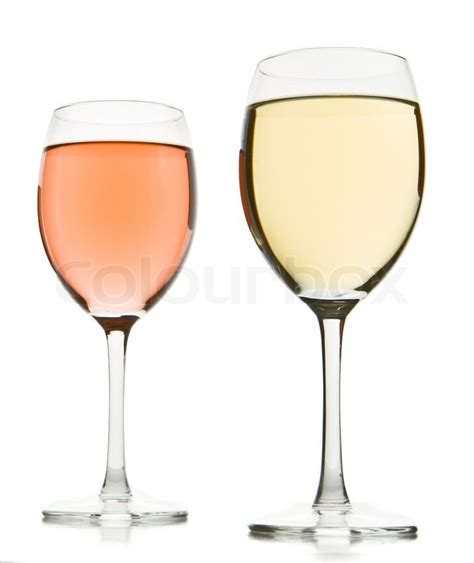 white and red rose wine glass two wine glasses with white and rose wine stock photo