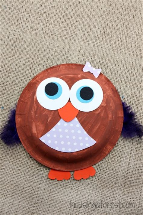 Owl Paper Plate Craft - paper plate owl housing a forest