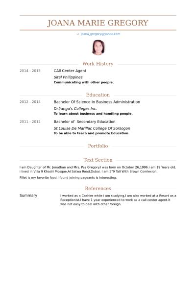 resume format for call center call center cv beispiel visualcv lebenslauf muster