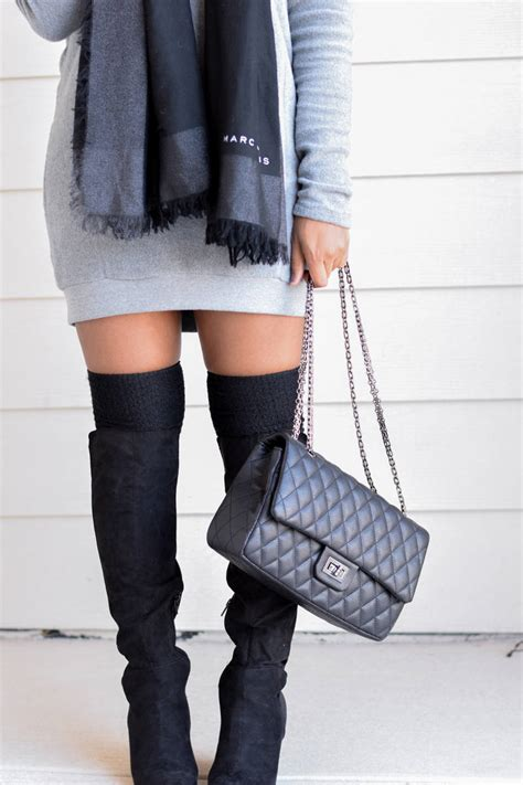 winter fashion sweater dress and otk boots