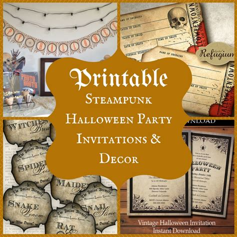 free printable halloween party decorations printable steunk halloween party invitations and decor