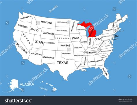 usa map michigan state michigan state usa vector map isolated stock vector