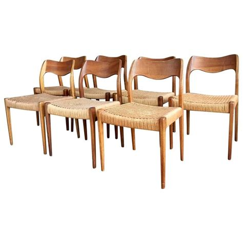 Mid Century Teak Dining Chairs Seven Niels O M 248 Ller Mid Century Modern Teak Dining Chairs For Sale At 1stdibs