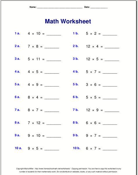 multiplication table exercises printable multiplication worksheets for grade 3