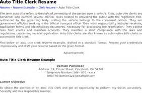 Vehicle Title Clerk Sle Resume by Stumblers Who Like Auto Title Clerk Resume Exle Stumbleupon