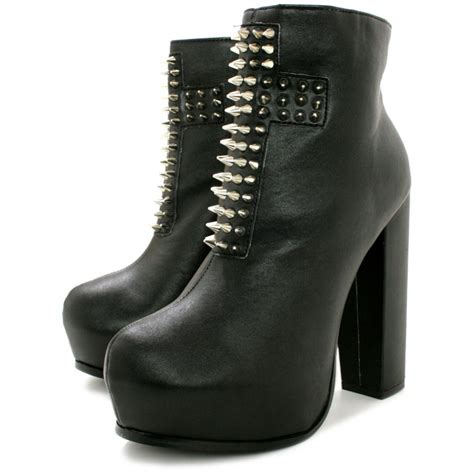 buy heeled spike concealed platform ankle boots