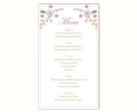 diy menu card template wedding menu template diy menu card template editable text