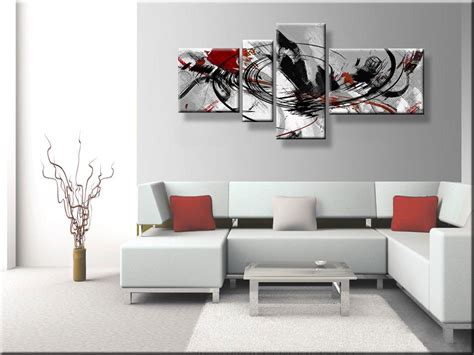 rood tegen blauw interieur abstract kunst schilderij met zwart wit grijs en rood