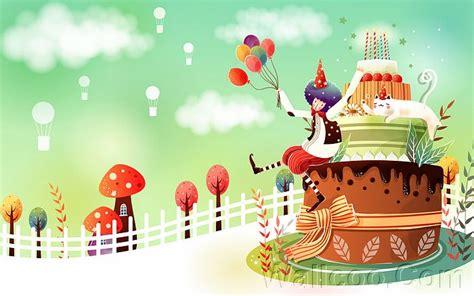 birthday wallpaper with cartoon cartoon birthday cake children s vector illustrations