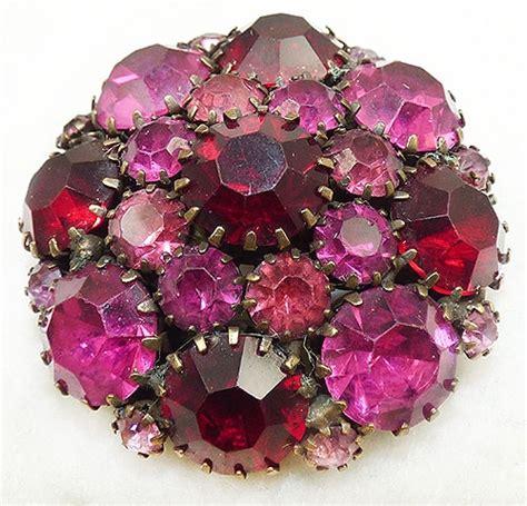 weiss pink  red rhinestone brooch garden party