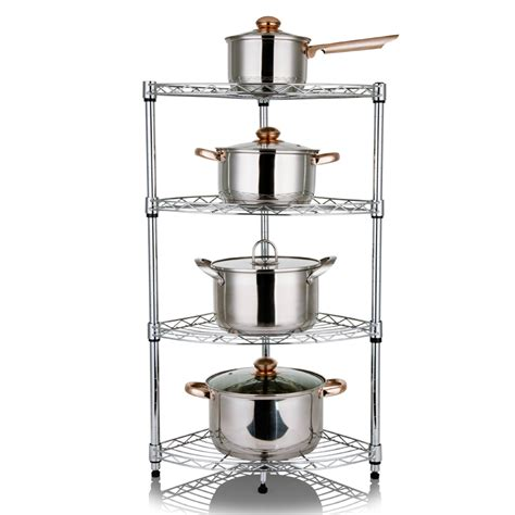 free shpping 4 layers stainless steel kitchen shelf